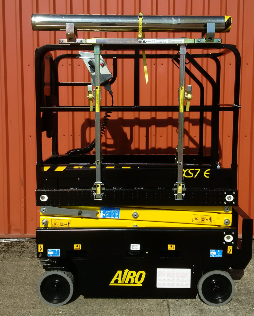deckRailXtra material handling attachment added to Airo scissor lift
